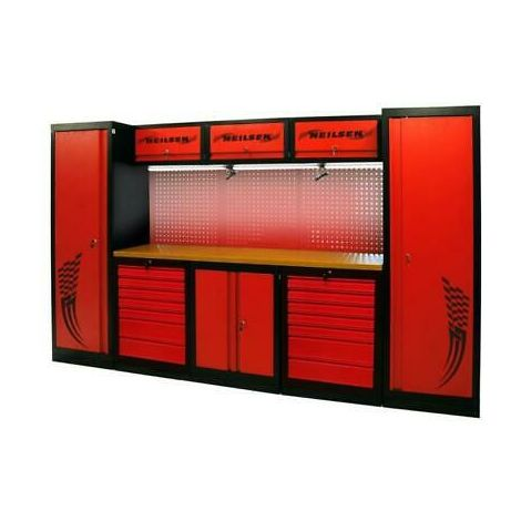 3.25m Garage Tool Station With Tools and Workbench, Red