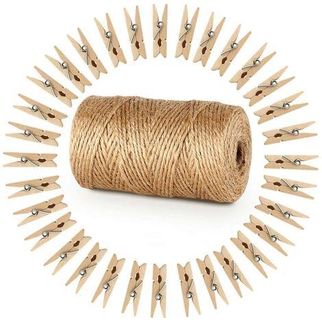 328 Pieds Ficelle de Jute et 100 pièces Mini en Bois Naturel Craft Pinces à Linge Craft Pinces à Linge Clips pour Jardinage Applications, Arts Crafts Cadeau de No?l