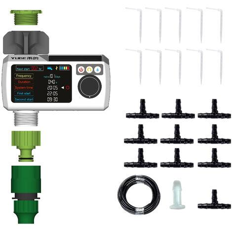 32.8ft bricolaje goteos Irrigacion kit con sistema de auto-riego con energia solar temporizador de riego Manguera Planta para Pot plantas de invernadero Patio Cesped macizos de flores
