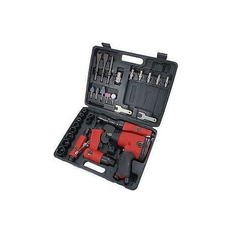 "33 Piece Air Tool Kit 1/2"" Drive Kit Wrench Ratchet Grinder Hammer"