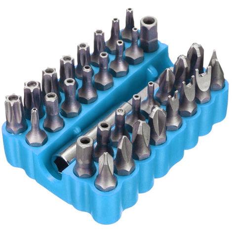 33 piezas, juego de brocas Torx Hex Star, con soporte magnetico,azul