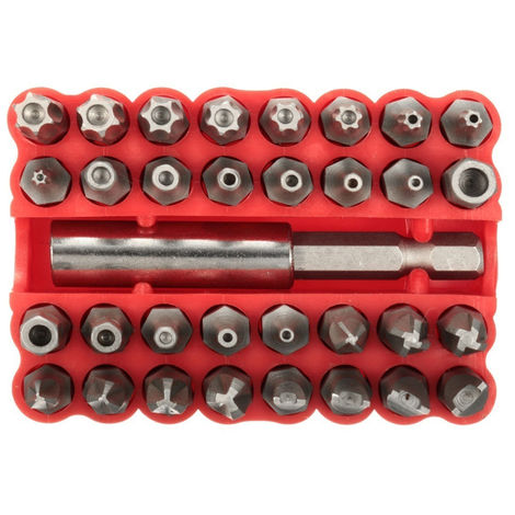 33 piezas, juego de brocas Torx Hex Star, con soporte magnetico,rojo