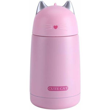 330 ml tasse thermo en forme de chat bouteille d'eau café boissons tasse chaude en acier inoxydable voyage sport rose