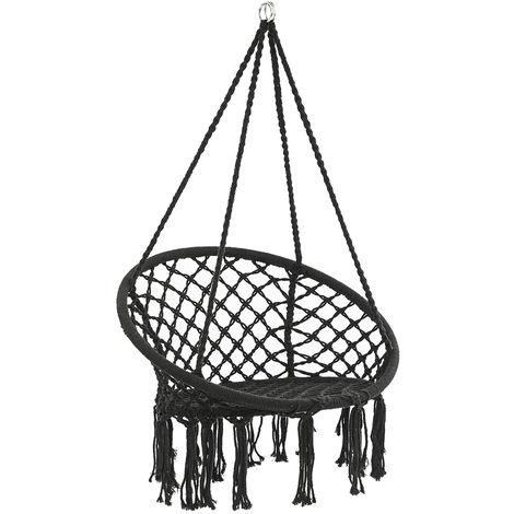330lbs suspendus balançoire hamac chaise corde ronde macramé porche patio maison extérieure