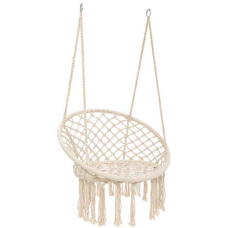 330lbs suspendus balançoire hamac chaise corde ronde macramé porche patio maison extérieure Blanc
