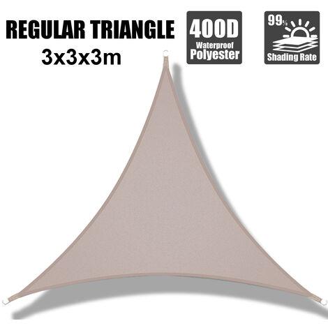 3*3*3m kaki 300D imperméable à l'eau de voile d'ombrage 280GSM Polyester Oxford Farbic Protection UV
