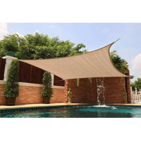 3*3m 300D Voile d'ombrage Patio Couverture Carré UV kaki