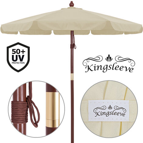 3.3m Garden Sun Parasol UV-Protection 40+ Wooden Patio Shade Umbrella Canopy
