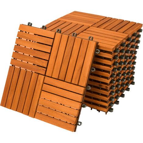 33x Dalles de terrasse en bois d'acacia pour 3m² - 30x30cm - Fixation par Clips - Terrasse - Balcon - Jardin - Piscine