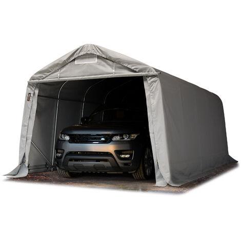 3,3x6m garage, abri INTENT24, env. PVC 550 g/m², H. 2,1m, gris, avec statique (type de sol : sol dur)