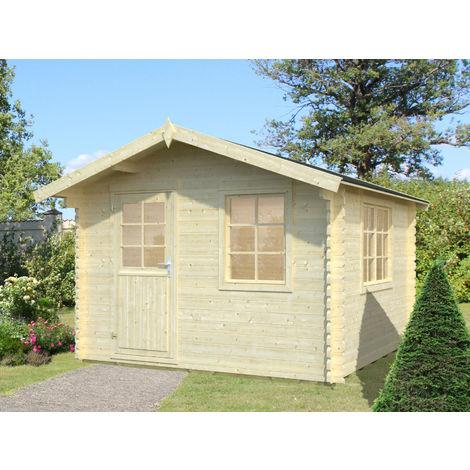 34 mm Gartenhaus Mosel 3 - ca. 320x320 cm - Gerätehaus Holzhaus Blockhaus