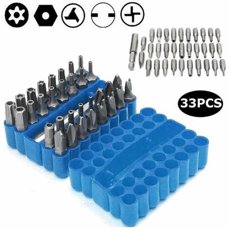 34 pcs de Bits de tournevis magnétique avec extension Porte-embout, DE Sécurité Anti-tamper SAE Metric Hex Tri-Wing Torq Clé à douille Star - Bleu