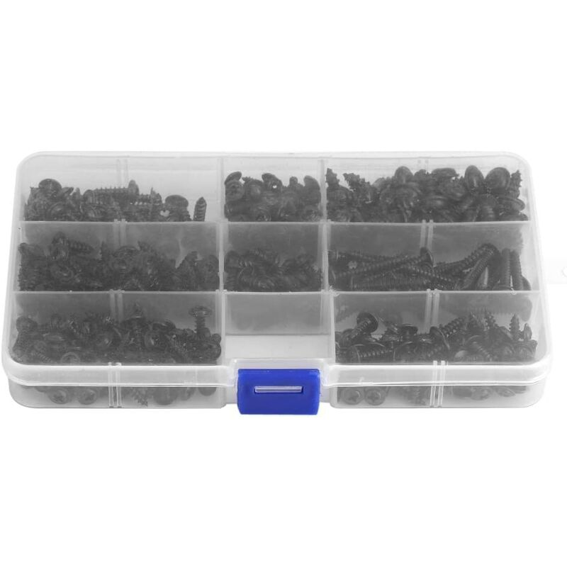 Briday - 340Pcs PWA (with self-tapping) Black Flat Round Head Screw Self Screw & agrave; Thread Bolt Assortment Kit with Clear Box