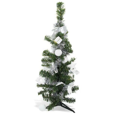 343636 Árbol de Navidad de mesa verde y gris 60H cm con adornos en ramas