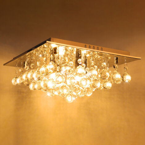 34CM LED Square Crystal Droplet Modern Chrome Crystal Ceiling Lights, Warm White