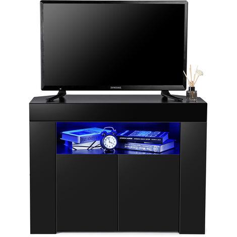 "34"" Corner TV Stand Cabinet High Gloss &Matt LED Light Entertainment Unit Modern"