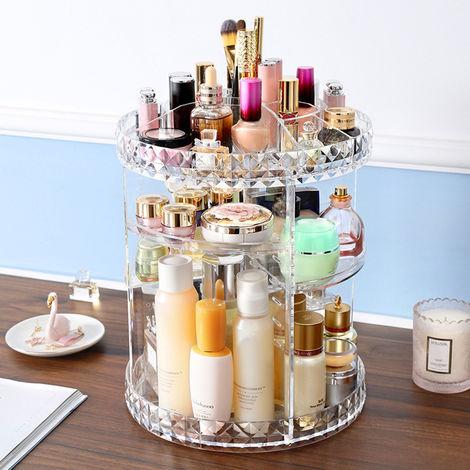 34X23.5Cm 6 Sofas Adjustable Acrylic Cosmetic 360 ¡ã Rotatable Makeup Organizer Spinning Rack