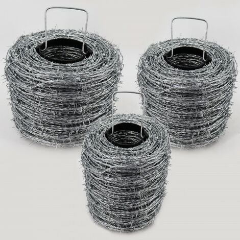 350 m fil de fer barbelé galvanisé, 1,6 / 1,7 mm pour clôture de protection contre la faune sauvage, clôture forestière, grillage noué