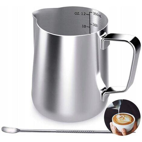 350 ml Stainless Steel Stainless Steel Handbag, Coffee Cream Milk Mug with Measuring Brand and Latte Art Pen, Cappuccino Barista Milk Pot