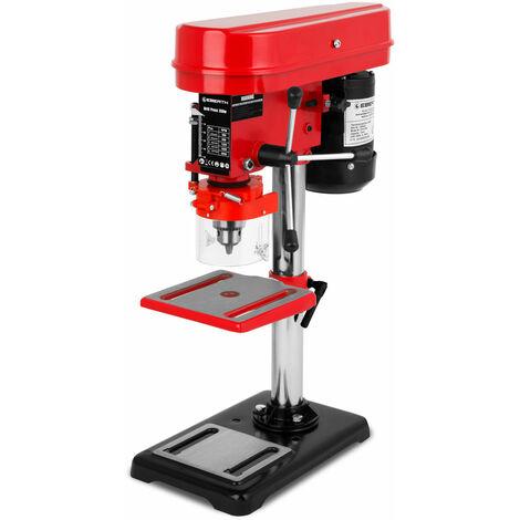 350 W Tischbohrmaschine (50mm Spindelhub, Bohrfutter Ø 1,5 - 13 mm, 5 Geschwindigkeitsstufen, neigbarer und schwenkbarer Bohrtisch) Säulenbohrmaschine Standbohrmaschine