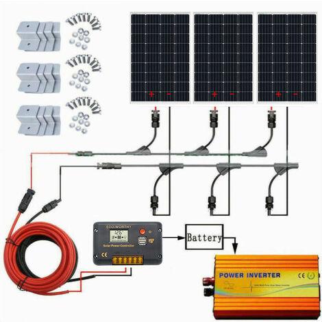 350W Kit de panel solar de módulo solar y controlador de carga de 60A e inversor de 1KW para camping