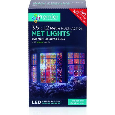 350x120cm 360 Multi Action LED Net Light - Multi-Coloured