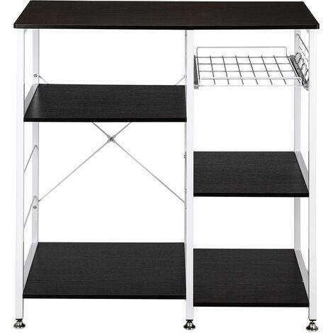 "35.5"" Kitchen Baker's Rack Utility Storage Shelf Microwave Stand 3-Tier 3-Tier Table For Spice Rack Organizer Workstation Dark Brown"