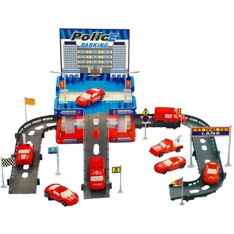 358597 Playset pista garaje de policia CIGIOKI para ensamblar coches incluidos