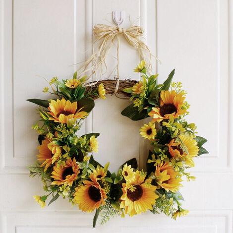 35CM Hanging Artificial Flower Door Wreath Sunflower Garland