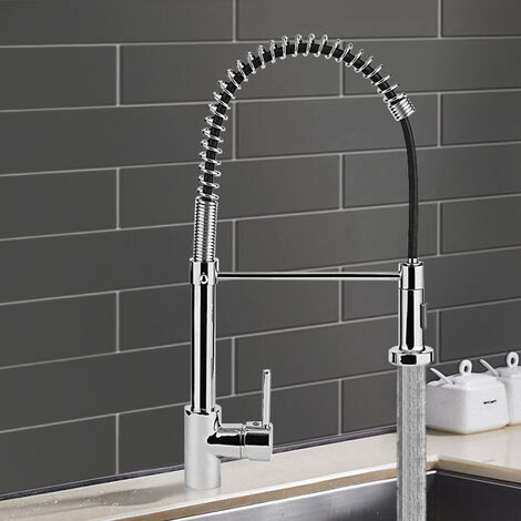 35CM Kitchen Chrome Pull Out Sink Mixer Tap Spring Swan Neck Faucet