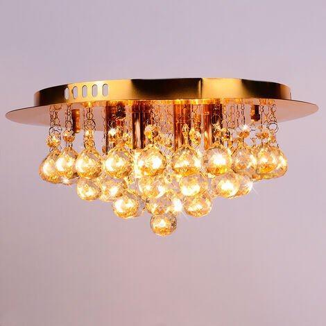 35CM LED Round Crystal Droplet Modern Chrome Crystal Ceiling Lights