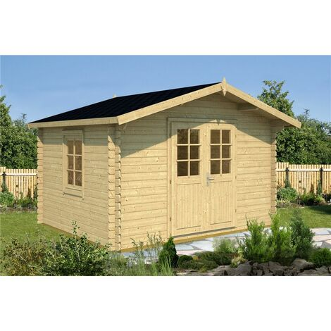 3.5m x 3m Budget Apex Log Cabin (202) - Single Glazing (28mm Wall Thickness)