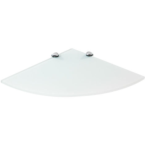 35x35CM Corner wall shelf + support White glass shelf Glass shelf Bathroom shelf Console Glass