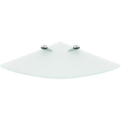 35x35CM Estante esquinero de vidrio esmerilado + soporte para estante de vidrio Consola de vidrio