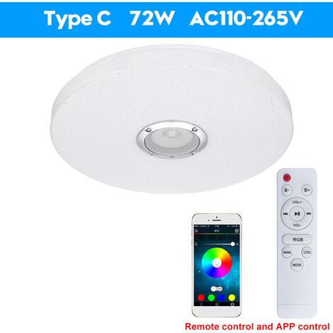 36/60W Modern LED Music Ceiling Light bluetooth Speaker RGB Flush Mount Lamp APP Remote Control 72W Ugraded 2Ways Control