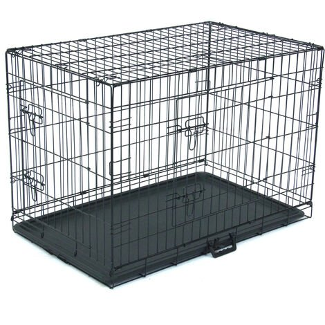 """36"""" Dog Puppy Cage Foldable Metal Pet Carrier 2 Doors with Tray"""