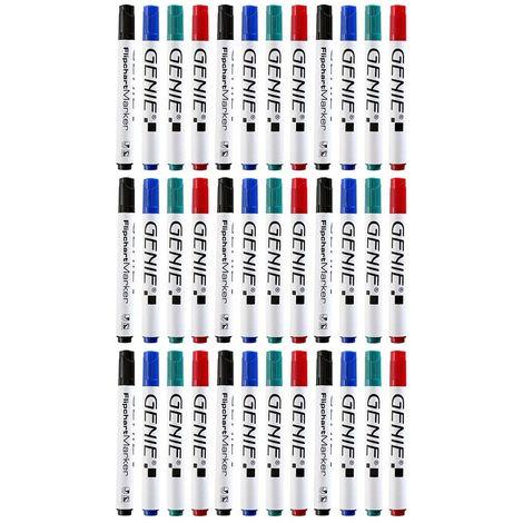 24 Stück GENIE Flipchart-Marker für Papier Stifte 4 Farben blau grün schwarz rot