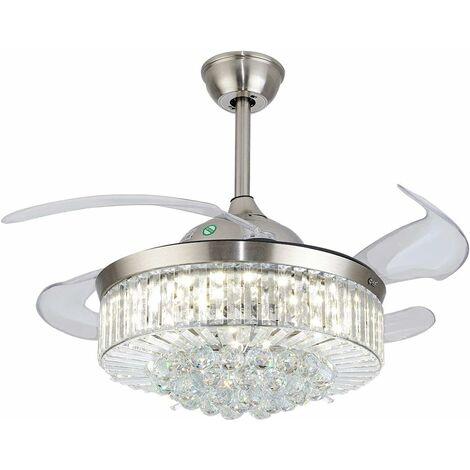 36'' Ventilateur de Plafond avec Télécommande Ventilateur de Plafond Invisible Ventilateur de Plafond avec Lumière Silencieux Chandelier pour Chambre Salon Maison