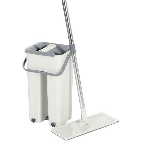 360 ¡ã Rotating Flat Mop Bucket Set Auto Rebound Auto Floor Cleaning (Apricot, Mop Bucket Set)