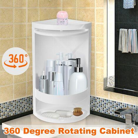 360 Degree Rotating Kitchen Toilet Shelf Corner Bathroom Storage Cabinet (White, S (41.5x18x18cm))