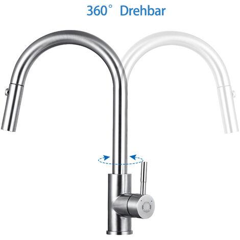 360° Drehbar Küchenarmatur | 55cm Ausziehbare Brause mit 3 Strahlarten | Einhebelmischer Armatur Küche Wasserhahn Spültischarmatur Spülbecken Mischbatterie,edelstahl-optik