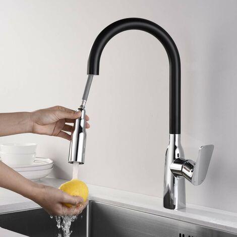 360° drehbar Küchenarmatur schwarz Wasserhahn küche mit ...