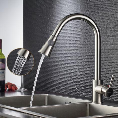 360° Drehbare Küchenarmatur mit herausziehbarem/ausziehbar Brause Küche Spültischarmatur Einhebelmischer Wasserhahn Mischbatterie Spülbecken Armatur