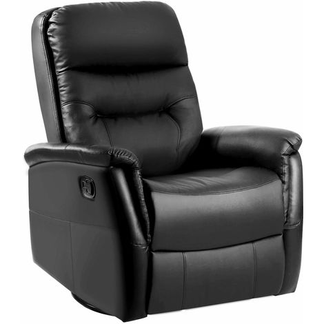 360¡ã SWIVEL LUXURY BONDED LEATHER RECLINER SOFA CHAIR RECLINING CHAIR ARMCHAIR CINEMA ROCKING GAMING CHAIR LOUNGE CHAIR (Black)