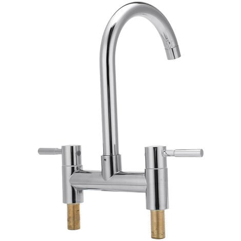 360¡ã Swivel Tap Faucet Two Handle Faucet High Sprayer Two Hole Sink Mixer Tap