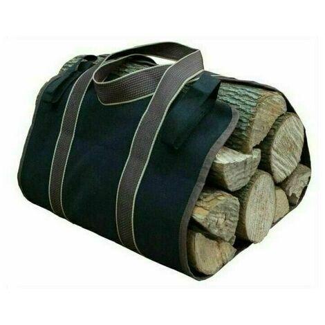 36×16cm Toile Sac à bûche Cheminée Sac de chauffage Imperméable Transporteur de bois extérieur rangement pour le bois de avec anti-dérapantes Solide poignées Sangles Porte-bûches noir