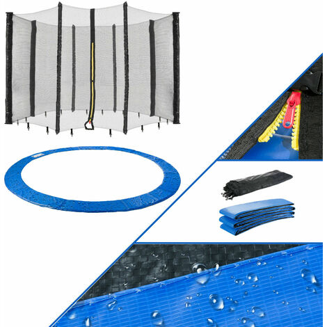 366 cm Coussin de protection pour trampoline + filet pour 8 tiges