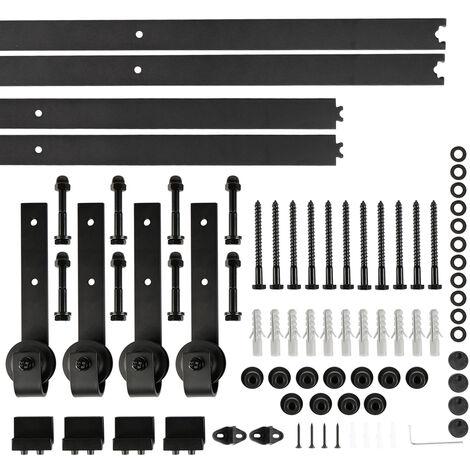 366CM Quincaillerie Kit de Rail pour Porte Coulissante, Ensemble Industriel Hardware kit pour Porte Suspendue en Bois Système de Porte avec Roulettes et Rail(12FT) - Style 2