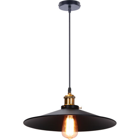 36cm Antique Industrial Style Chandelier Lamp Black Metal Vintage Ceiling Pendant Light Shade Indoor Bar Club Ceiling Lampshade Lights Fixture