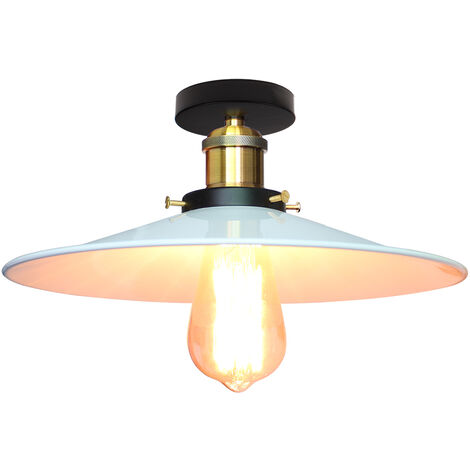 36cm Ceiling Pendant Lamp, Industrial Antique Metal Ceiling Lamp Hanging Light E27 60W for Living Dining Room Bar Cafeteria Restaurant(White)